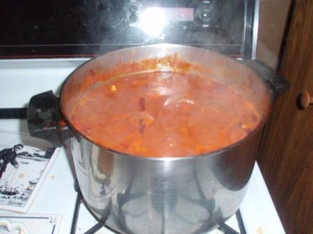 pan full of sauce