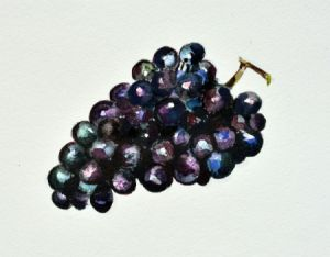 A watercolor of purple grapes