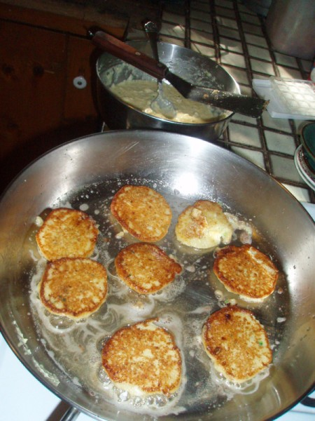 fritters in pan