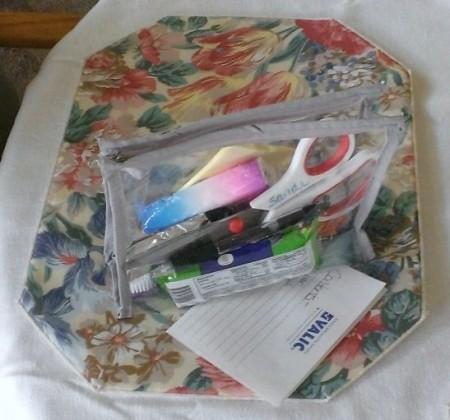 bag with car trip supplies