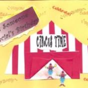 A homemade circus birthday card.