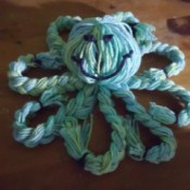 Yarn Octopus Doll - finished blue octopus with eyes and mouth