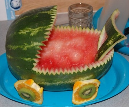 cut watermelon baby carriage