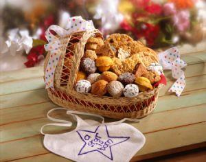 bassinet basket filled with muffins