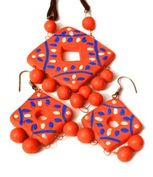 clay earrings and pendant necklace