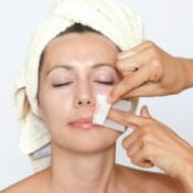 woman having facial hair removed