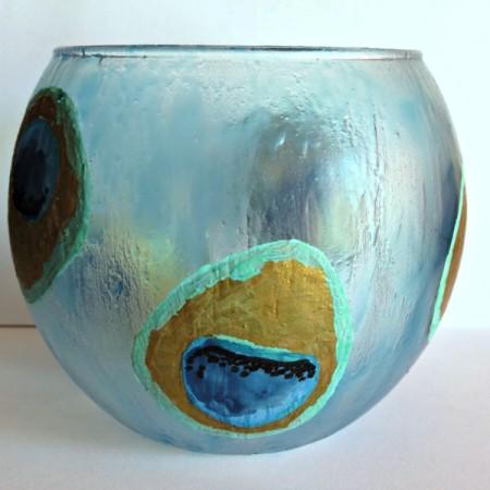 Peacock-Inspired Glass Vase
