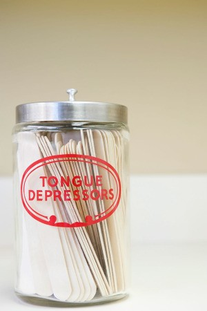bottle of tongue depressors