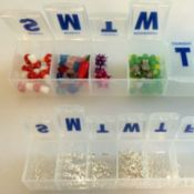Pill Organizer for Beads and Findings - two daily pill organizers with beads and findings sorted into the separate containers