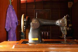 closeup of old machine in cabinet