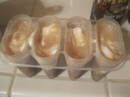 Root Beer Float Popsicles - filled forms