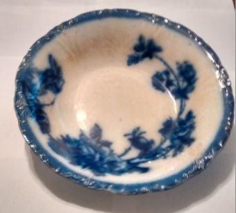 white bowl with dark blue pattern