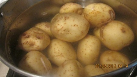 Old Fashioned Potato Salad - potatoes in pan