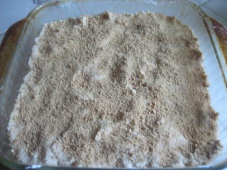 crumbs on dough