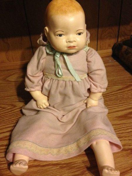 ceramic and cloth doll