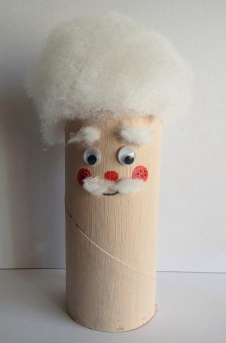 Toilet Roll Father Christmas - adding hair and a face to the tube