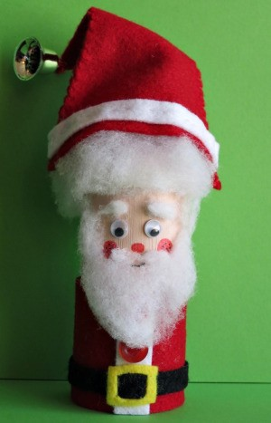 Toilet Roll Father Christmas - finished Father Christmas complete with hat including a bell