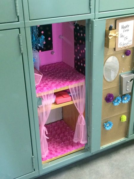 Pink and Gold Themed Locker Decor
