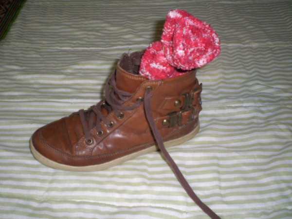 Litter Filled Sock In Shoe