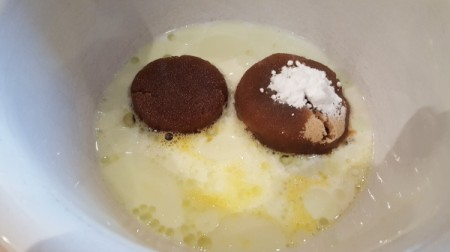 sugar, egg and milk in bowl