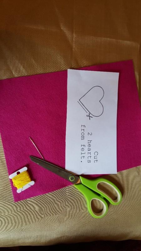 Felt Heart Bookmark - supplies