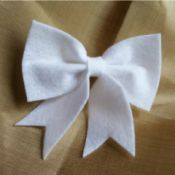 finished white felt bow