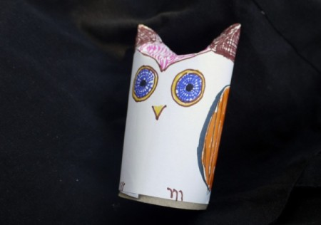 Easy Recycled Owl - Adding color to the owl.