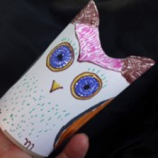 Easy Recycled Owl - The finished owl.