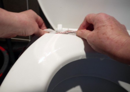 A cloth being used to clean the toilet.