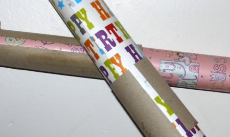 Rolls of wrapping paper with cardboard tubes