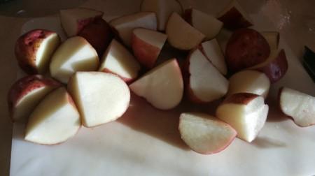 cut red potatoes