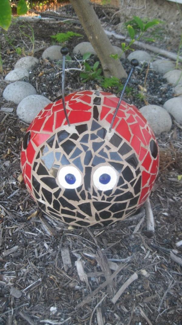 Mosaic Caterpillar Using Bowling Balls Thriftyfun