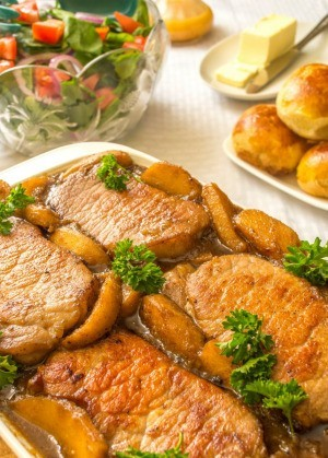 pork chops with apple compote