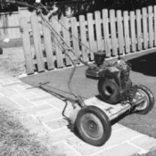 black and white photo of mower