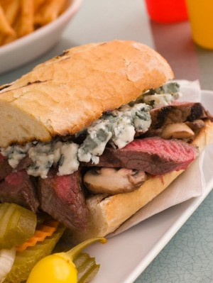 steak and blue cheese sandwich