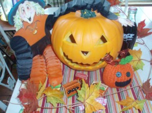 A Halloween decoration with a jack 'o lantern