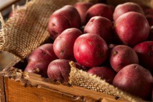 box of organic red potatoes