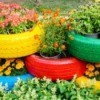 brightly colored tire planters