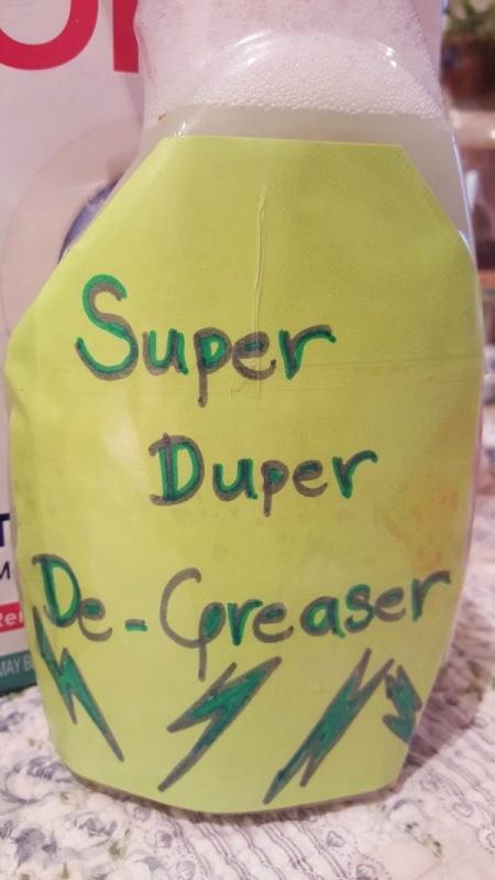 bottle of degreaser