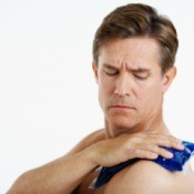 Man putting Ice Pack on his Shoulder