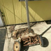 reel mower in pieces
