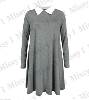 grey dress with white collar