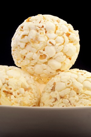 stack of popcorn balls