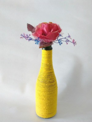 Yarn Wrapped Bottle Vase