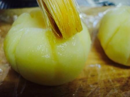 brushing potato pumpkin balls