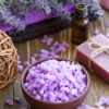 lavender crystals, oil, and flowers