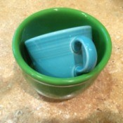 coffee cup stuck in small bowl or cup