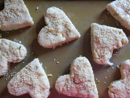 cut scones with sesame seeds