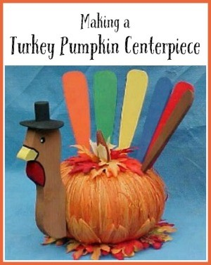 Making a Turkey Pumpkin Centerpiece