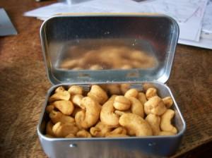 cashews in a tin